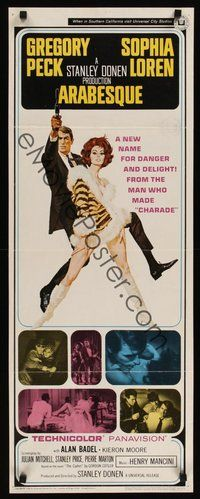 2d030 ARABESQUE insert '66 Gregory Peck, sexy Sophia Loren, ultra mod, ultra mad, ultra mystery!