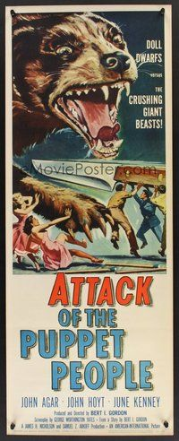 2d032 ATTACK OF THE PUPPET PEOPLE insert '58 AIP, art of tiny people w/steak knife attacking dog!
