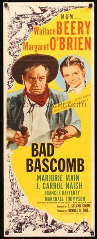 2d034 BAD BASCOMB insert '46 art of Wallace Beery w/guns & young Margaret O'Brien!