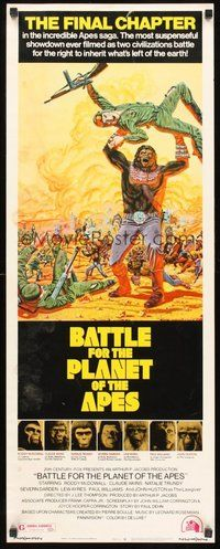 2d039 BATTLE FOR THE PLANET OF THE APES insert '73 great sci-fi art of war between apes & humans!