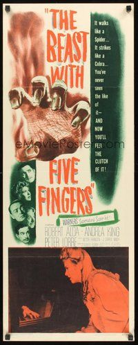 2d044 BEAST WITH FIVE FINGERS insert '47 Peter Lorre, your flesh will creep at hand that crawls!