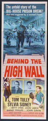 2d045 BEHIND THE HIGH WALL insert '56 Tully, smoking Sylvia Sidney, big house prison break art!
