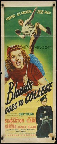 2d059 BLONDIE GOES TO COLLEGE insert '42 Penny Singleton, Arthur Lake in football gear!