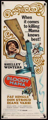 2d065 BLOODY MAMA insert '70 Roger Corman, AIP, crazy gangster Shelley Winters w/tommy gun!