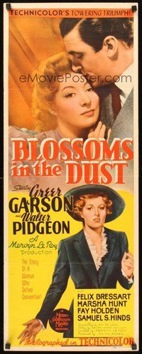 2d066 BLOSSOMS IN THE DUST insert '41 romantic image of Greer Garson & Walter Pidgeon!