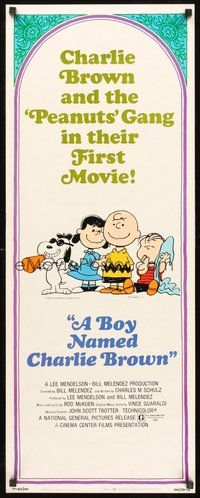 2d077 BOY NAMED CHARLIE BROWN insert '70 baseball art of Snoopy & the Peanuts by Charles M. Schulz!