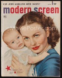 2e111 MODERN SCREEN magazine July 1949 Jeanne Crain holding her baby by Nickolas Muray!