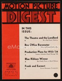 2e101 MOTION PICTURE DIGEST exhibitor magazine April 6, 1933 RCA sound equipment frees theaters!