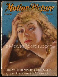 2e114 MOTION PICTURE magazine January 1932 artwork of sexy Greta Garbo by Enrique Dorda!