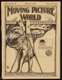 2e086 MOVING PICTURE WORLD exhibitor magazine Mar 9, 1918 incredible advance Tarzan of the Apes ad!