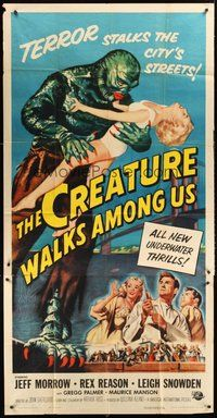 2f452 CREATURE WALKS AMONG US 3sh '56 different art of monster holding girl by Golden Gate Bridge!