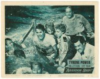 2j013 ABANDON SHIP LC #8 '57 Tyrone Power & 25 survivors in a lifeboat which can hold only 12!