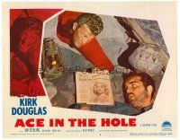 2j022 ACE IN THE HOLE LC #3 '51 Kirk Douglas shows newspaper to trapped Richard Benedict!