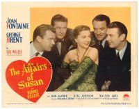 2j030 AFFAIRS OF SUSAN LC #5 '45 super close up of Joan Fontaine + surrounded by suitors!