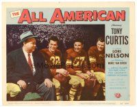 2j034 ALL AMERICAN LC #5 '53 football player Tony Curtis sitting on the bench with teammates!