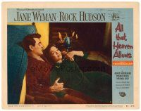 2j036 ALL THAT HEAVEN ALLOWS LC #8 '55 romantic close up of Rock Hudson & Jane Wyman by fireplace!