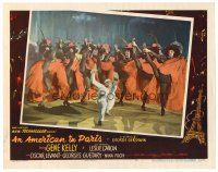 2j038 AMERICAN IN PARIS LC #7 '51 close up of Gene Kelly dancing on floor by high-kicking dancers!