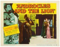 2j040 ANDROCLES & THE LION LC #2 '52 far shot of Victor Mature holding pretty Jean Simmons!