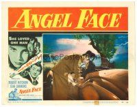 2j041 ANGEL FACE LC #7 '53 Robert Mitchum kissing pretty heiress Jean Simmons in convertible