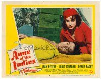 2j045 ANNE OF THE INDIES LC #8 '51 pirate queen Jean Peters looks at unconscious Louis Jourdan!