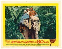 2j053 AROUND THE WORLD IN 80 DAYS LC #6 '58 David Niven & men riding on cool painted elephant!