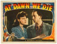 2j055 AT DAWN WE DIE LC '43 close up of smoking John Clements & pretty Greta Gynt!