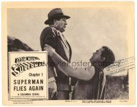 2j059 ATOM MAN VS SUPERMAN chapter 1 LC '50 angry Kirk Alyn in full costume lifts man in air!