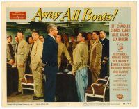 2j062 AWAY ALL BOATS LC #5 '56 soldiers watch Jeff Chandler confront Charles McGraw in pajamas!