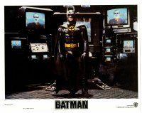 2j070 BATMAN LC '89 Michael Keaton in costume surrounded by TVs with Jack Nicholson as the Joker!