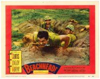 2j073 BEACHHEAD LC #6 '54 Marine Tony Curtis climbs out of foxhole with a knife in his mouth!