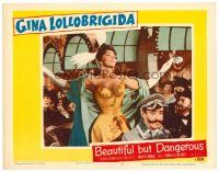 2j076 BEAUTIFUL BUT DANGEROUS LC #4 '57 close up of sexy Gina Lollobrigida in sexy outfit!