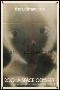 2p002 2001: A SPACE ODYSSEY 1sh R74 Stanley Kubrick, super close image of star child!