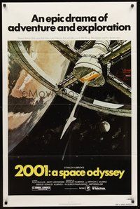 2p003 2001: A SPACE ODYSSEY 1sh R80 Stanley Kubrick, art of space wheel by Bob McCall!