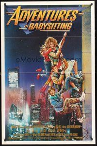 2p015 ADVENTURES IN BABYSITTING 1sh '87 artwork of young Elisabeth Shue by Drew Struzan!