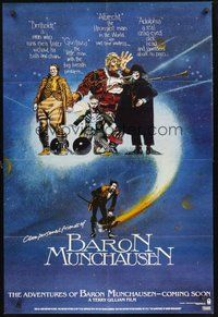 2p016 ADVENTURES OF BARON MUNCHAUSEN teaser 1sh '89 directed by Terry Gilliam, John Neville!