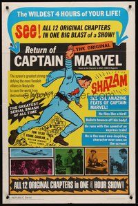 2p017 ADVENTURES OF CAPTAIN MARVEL 1sh R66 Tom Tyler serial, Return of Captain Marvel!