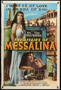 2p019 AFFAIRS OF MESSALINA 1sh '53 great full-length art of sexy Maria Felix in title role!