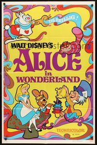 2p024 ALICE IN WONDERLAND 1sh R74 Walt Disney Lewis Carroll classic!