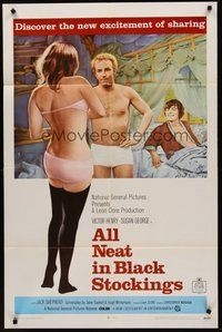 2p027 ALL NEAT IN BLACK STOCKINGS 1sh '69 Susan George, discover the new excitement of sharing!