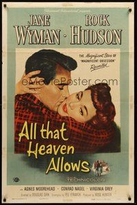 2p028 ALL THAT HEAVEN ALLOWS 1sh '55 close up romantic art of Rock Hudson kissing Jane Wyman!