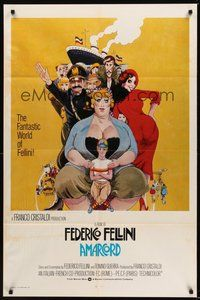 2p031 AMARCORD int'l 1sh '74 Federico Fellini classic comedy, Juliano Geleng artwork!