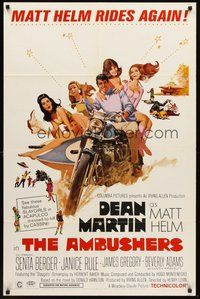 2p032 AMBUSHERS 1sh '67 art of Dean Martin as Matt Helm with sexy Slaygirls on motorcycle!