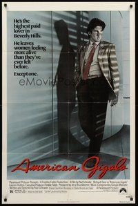 2p033 AMERICAN GIGOLO 1sh '80 handsomest male prostitute Richard Gere is being framed for murder!