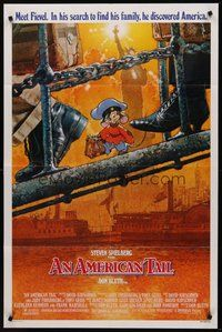 2p035 AMERICAN TAIL 1sh '86 Steven Spielberg, Don Bluth, art of Fievel the mouse by Drew Struzan!