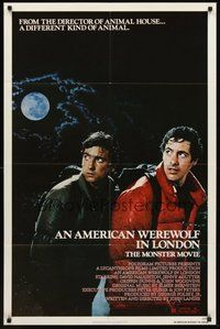 2p036 AMERICAN WEREWOLF IN LONDON 1sh '81 David Naughton, Griffin Dunne, directed by John Landis!