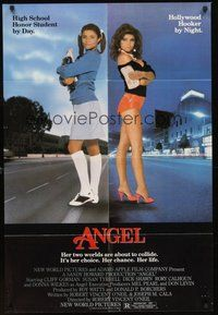 2p038 ANGEL 1sh '83 high school honor student by day, Hollywood hooker by night!