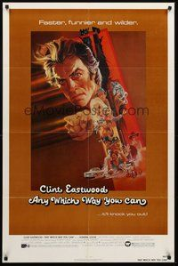 2p040 ANY WHICH WAY YOU CAN 1sh '80 cool artwork of Clint Eastwood & Clyde by Bob Peak!