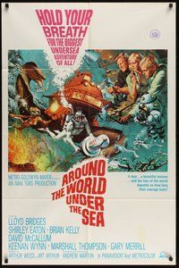 2p042 AROUND THE WORLD UNDER THE SEA 1sh '66 Lloyd Bridges, great scuba diving fantasy art!