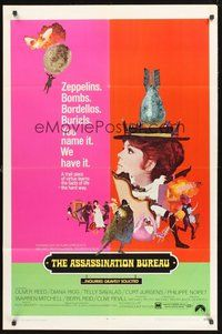 2p045 ASSASSINATION BUREAU 1sh '69 Diana Rigg, cool McGinnis art, zeppelins, bombs, bordellos!