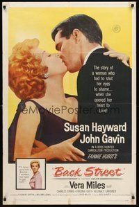 2p049 BACK STREET 1sh '61 Susan Hayward & John Gavin romantic close up, Vera Miles!